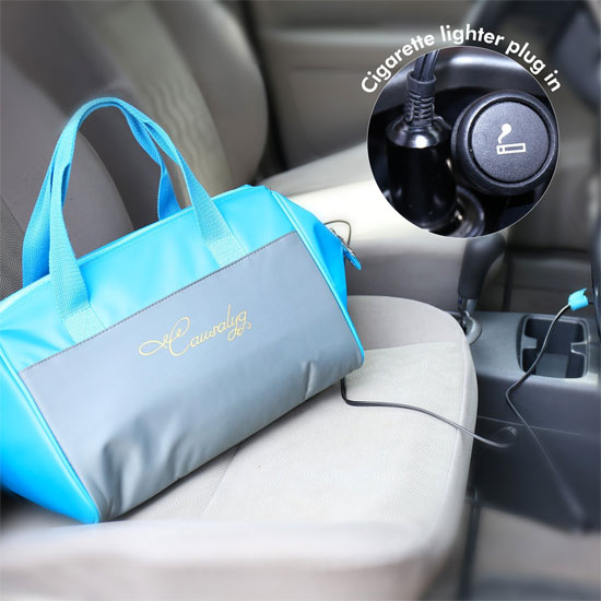 12V Cooler Tote Bag Plugged into Cigarette Lighter Outlet in Car