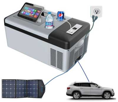 Car Cooler Power Options: Vehicle, Home Outlet or Solar Panel