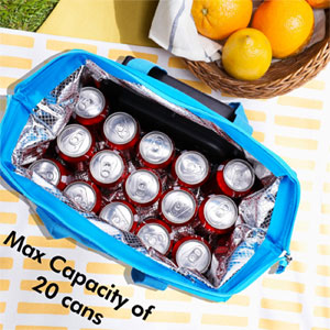 20-Can Capacity for soft-sided Cooler Tote