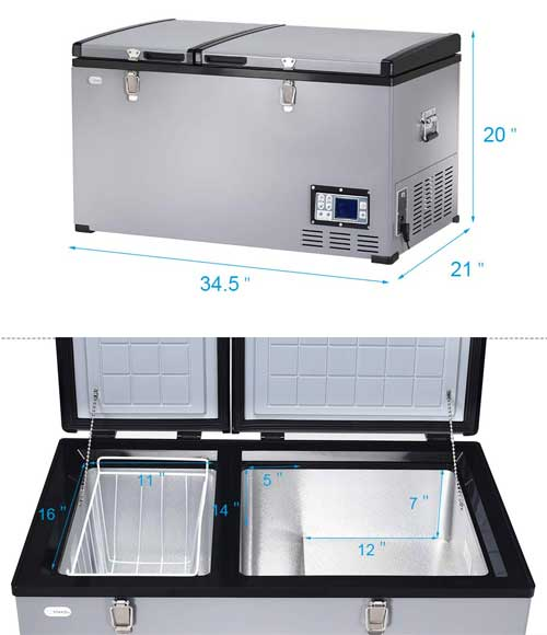 Costway Refrigerator Freezer Dimensions