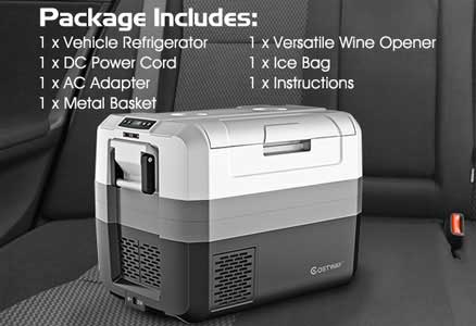 Costway Travel Fridge Package and Accessories: DC & AC Adapters, Food Basket