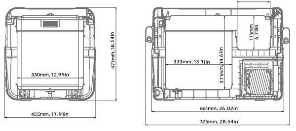 Dometic CFX-50 Dimensions