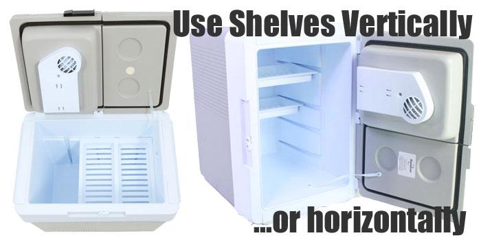 Koolatron P65 Kargo Portable Cooler Shelves Being Used Vertically and Horizontally