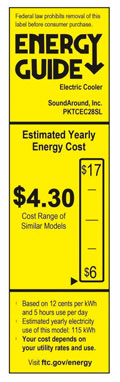 NutriChef Potable Cooler Energy Guide Label -Showing Huge Energy Cost Savings VS Mini Refrigerators