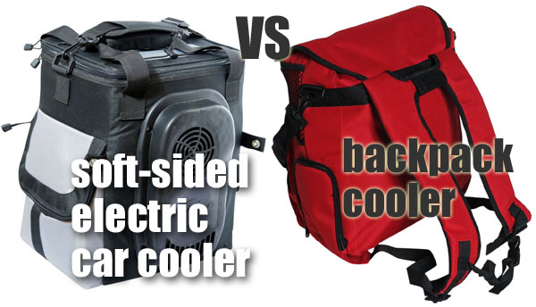 softsided electric car cooler vs backpack cooler with shoulder straps - Soft Sided Coolers