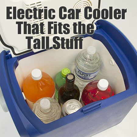 Tall Electric Car Cooler Fits Wine Bottles and 2-Liter Soda Bottles